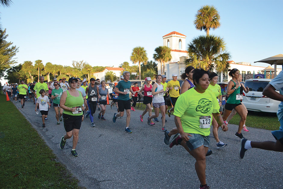 runners participating in 5K run on Boca Grande