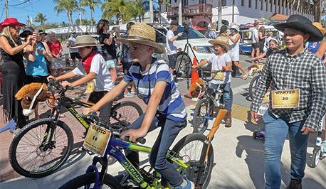 kids in a bike parade