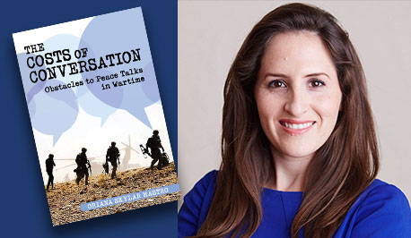 Oriana Mastro with book cover, The Cost of Conversation