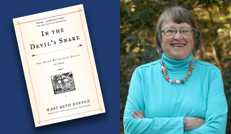 Mary Beth Norton with book cover, In the Devil's Snare