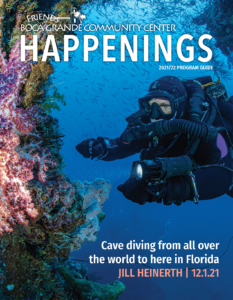 2021-22 Program Guide cover with photo of cave diver Jill Heinerth