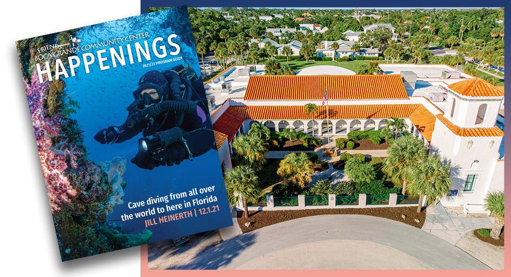 Boca Grande Community Center aerial photo with program guide cover