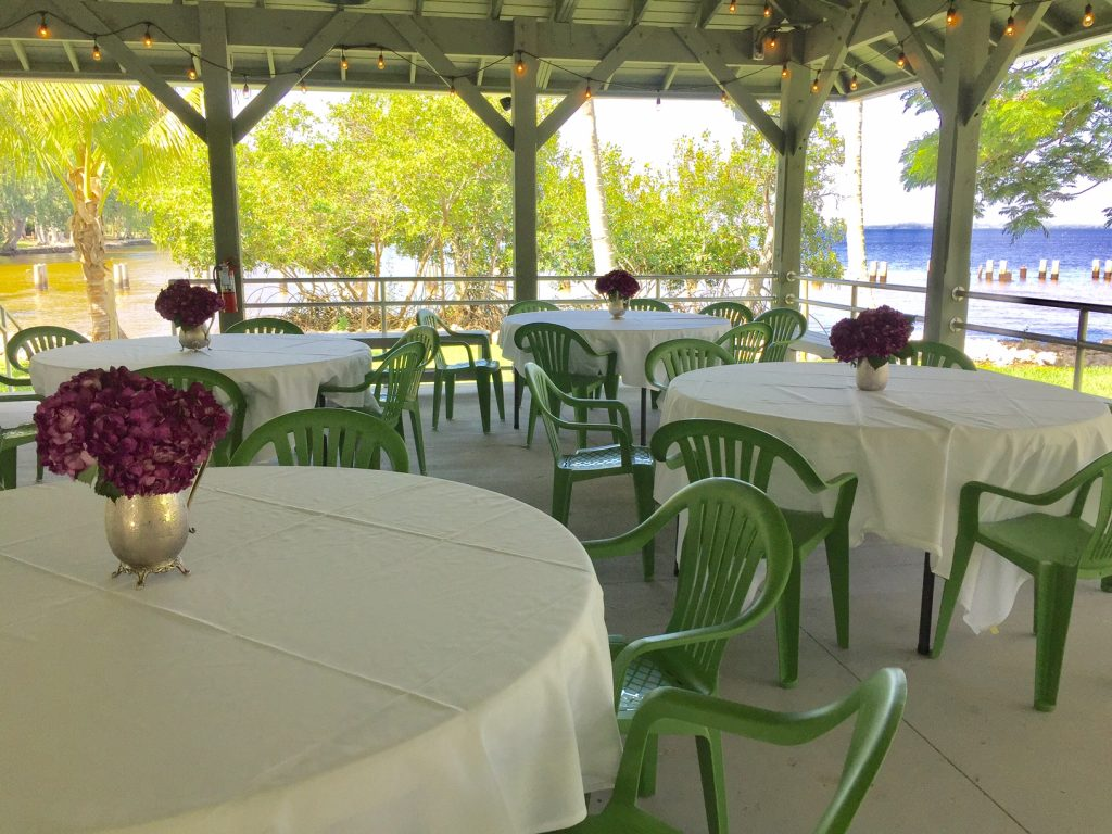 river pavilion set up for dining at the Edison and Ford Estates
