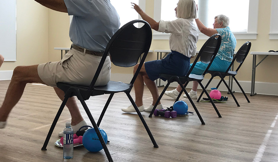seated exercise class students