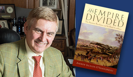 Andrew O'Shaughnessy with book cover, An Empire Divided
