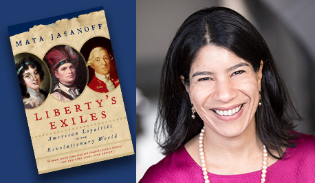 Maya Jasanoff with book cover, Liberty's Exiles