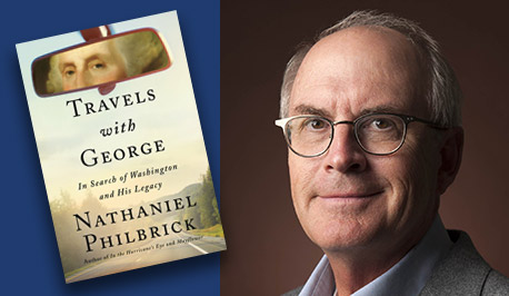 Nathaniel Philbrick with book cover, Travels with George