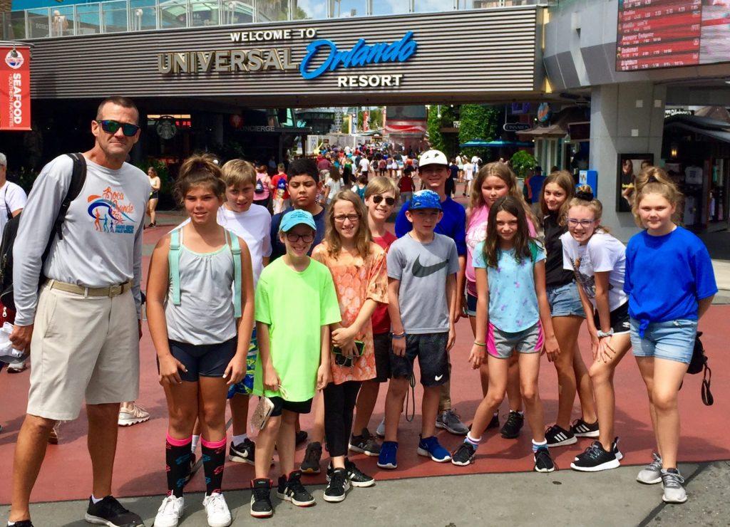 kids and chaperone at Universal Orlando Resort